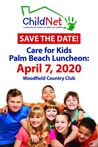 Save the Date flyer for Care for Kids Palm Beach Luncheon on April 7, 2020